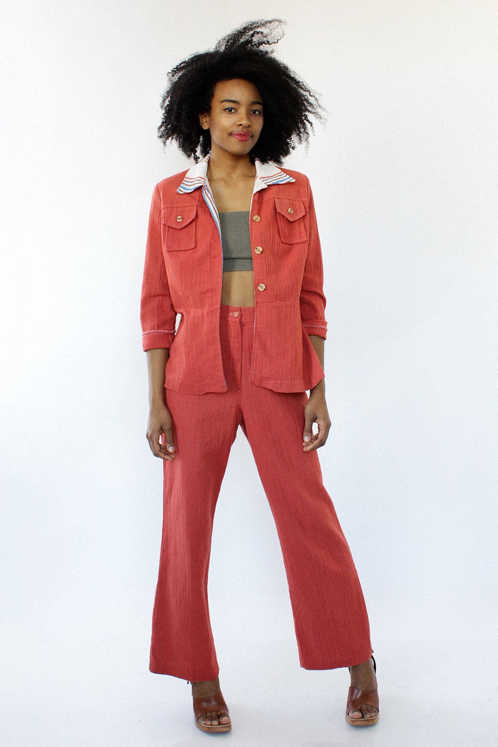 Coral Crinkle Day Suit M/L