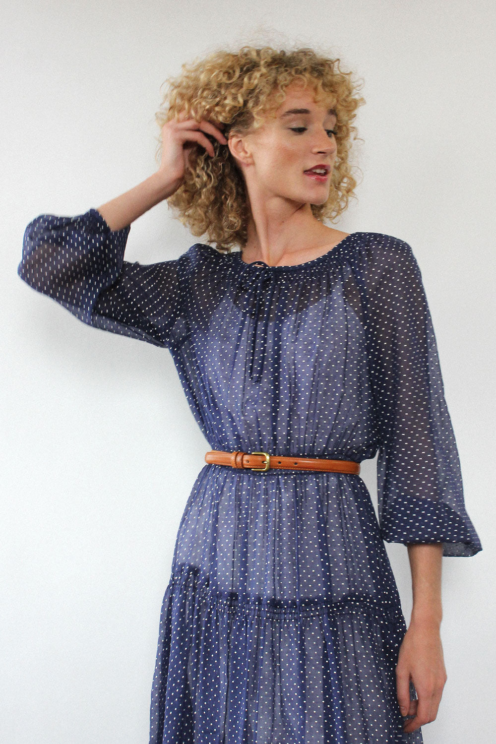 Navy Swiss Dot Sheer Dress S/M