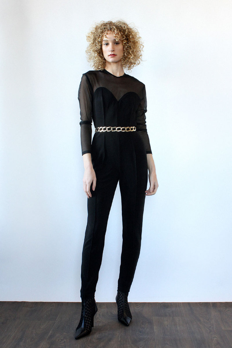 Cutout Sheer Catsuit M/L