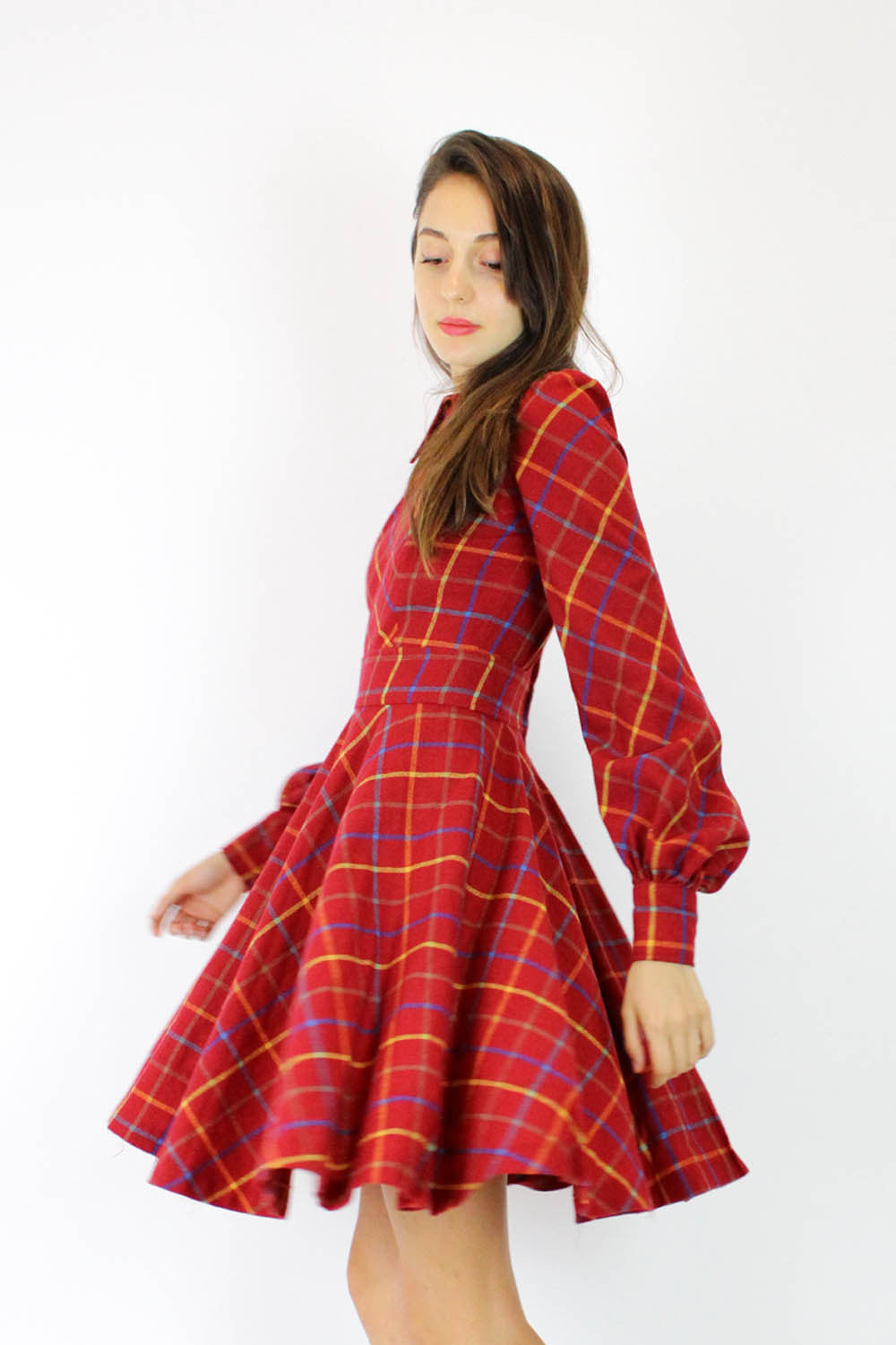 60s Collared Plaid Dress XS