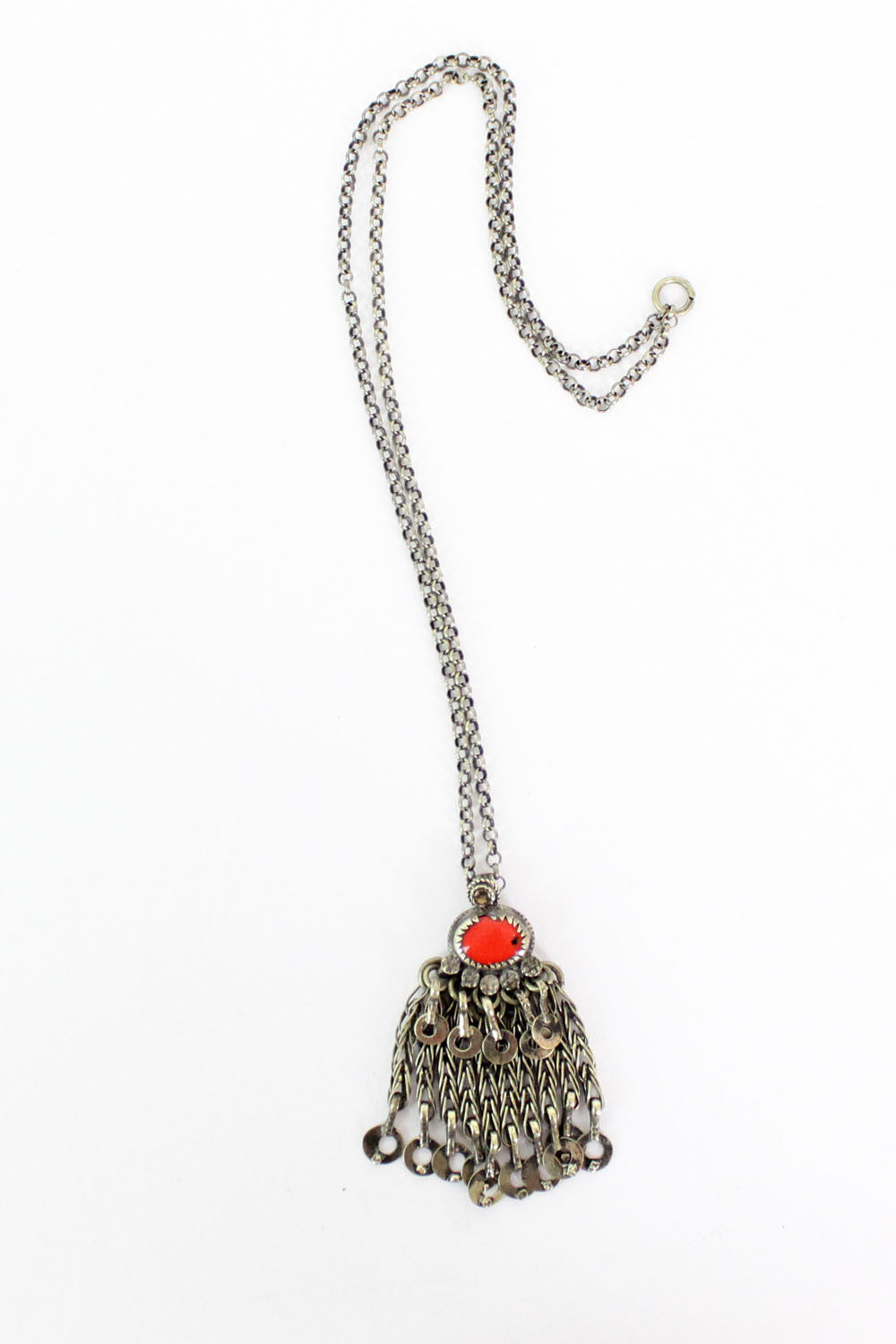 Coral Red Fringe Pendant Necklace