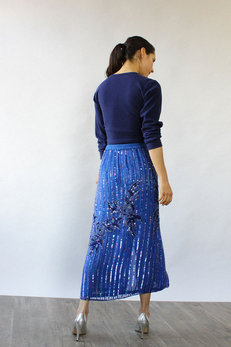 Blue Beaded Fluid Skirt