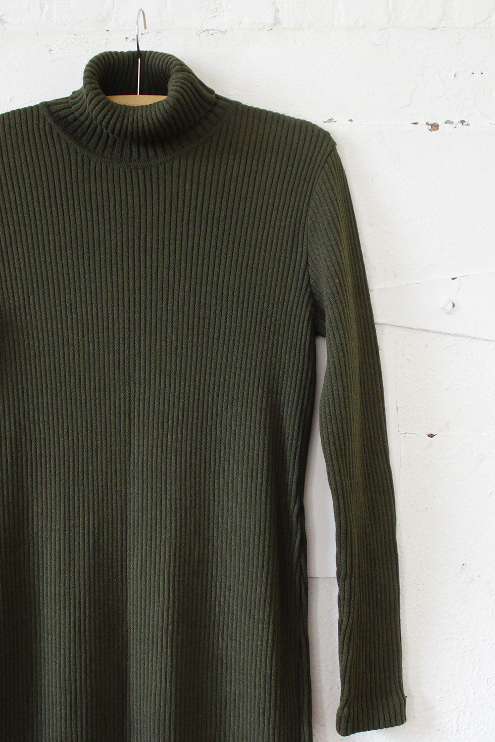 Olive Green Ribbed Sweater Dress M