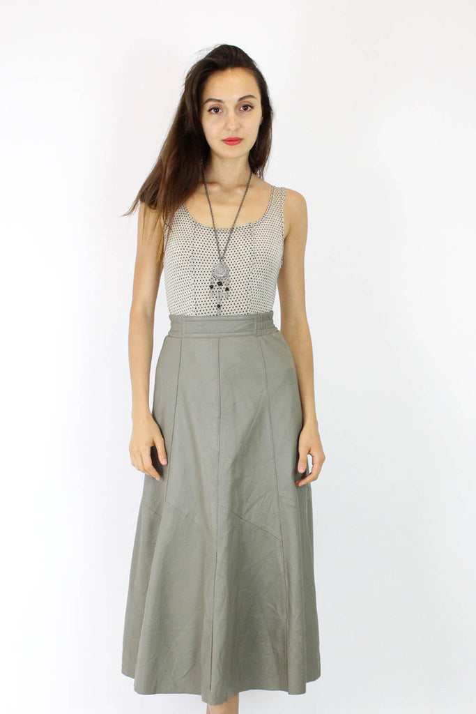 Putty Leather High Waist Skirt XS