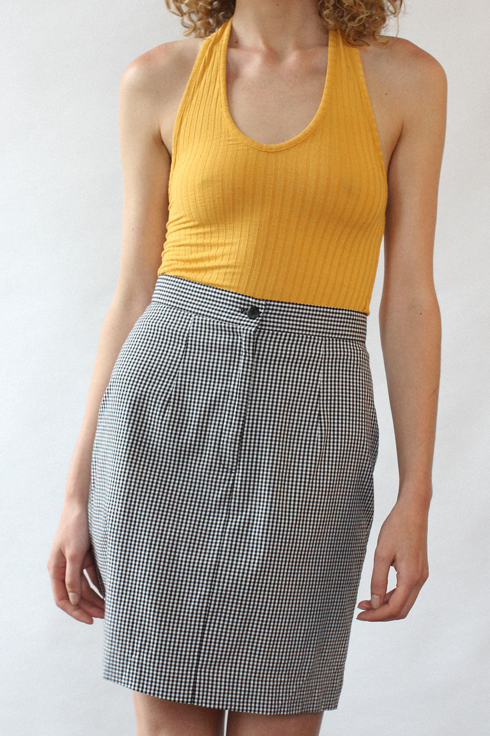 Gingham Straight Skirt S
