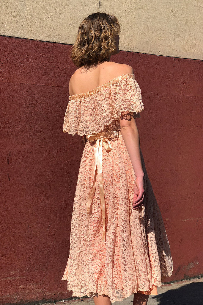 Peach Lace Party Dress S/M