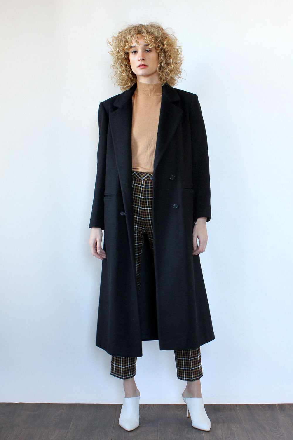 Tailored Black Wool Coat M