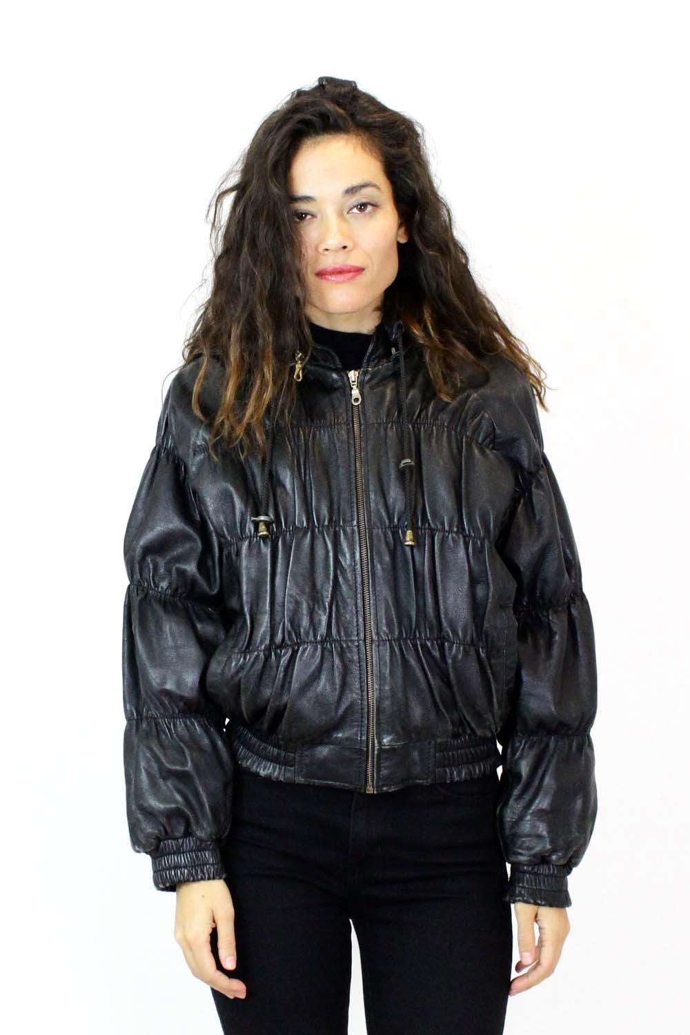 Ruched Leather Bomber Jacket M