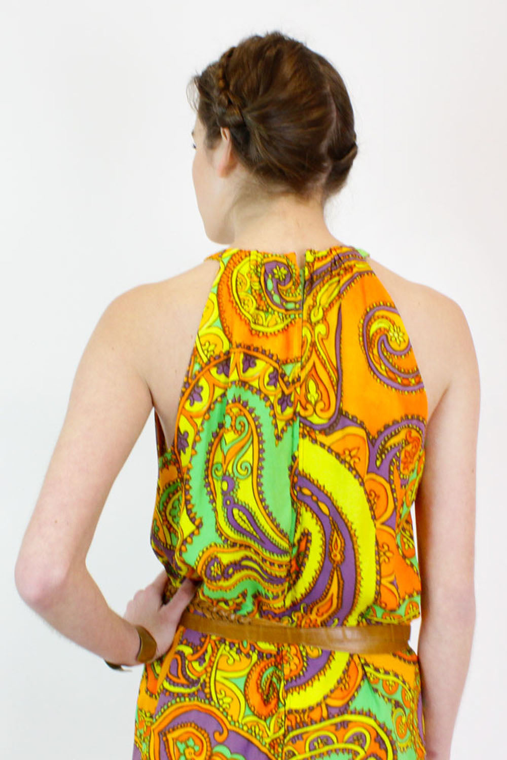 orange paisley vintage dress