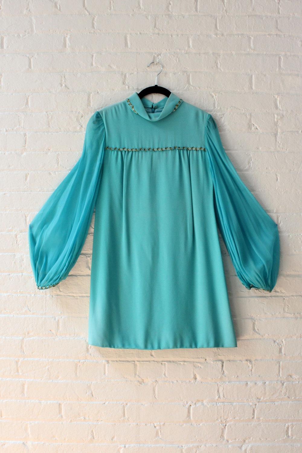 Aqua Chiffon Sleeve Mini Dress XS/S