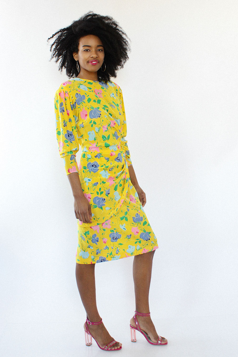 Carlisle Canary Floral Dress M