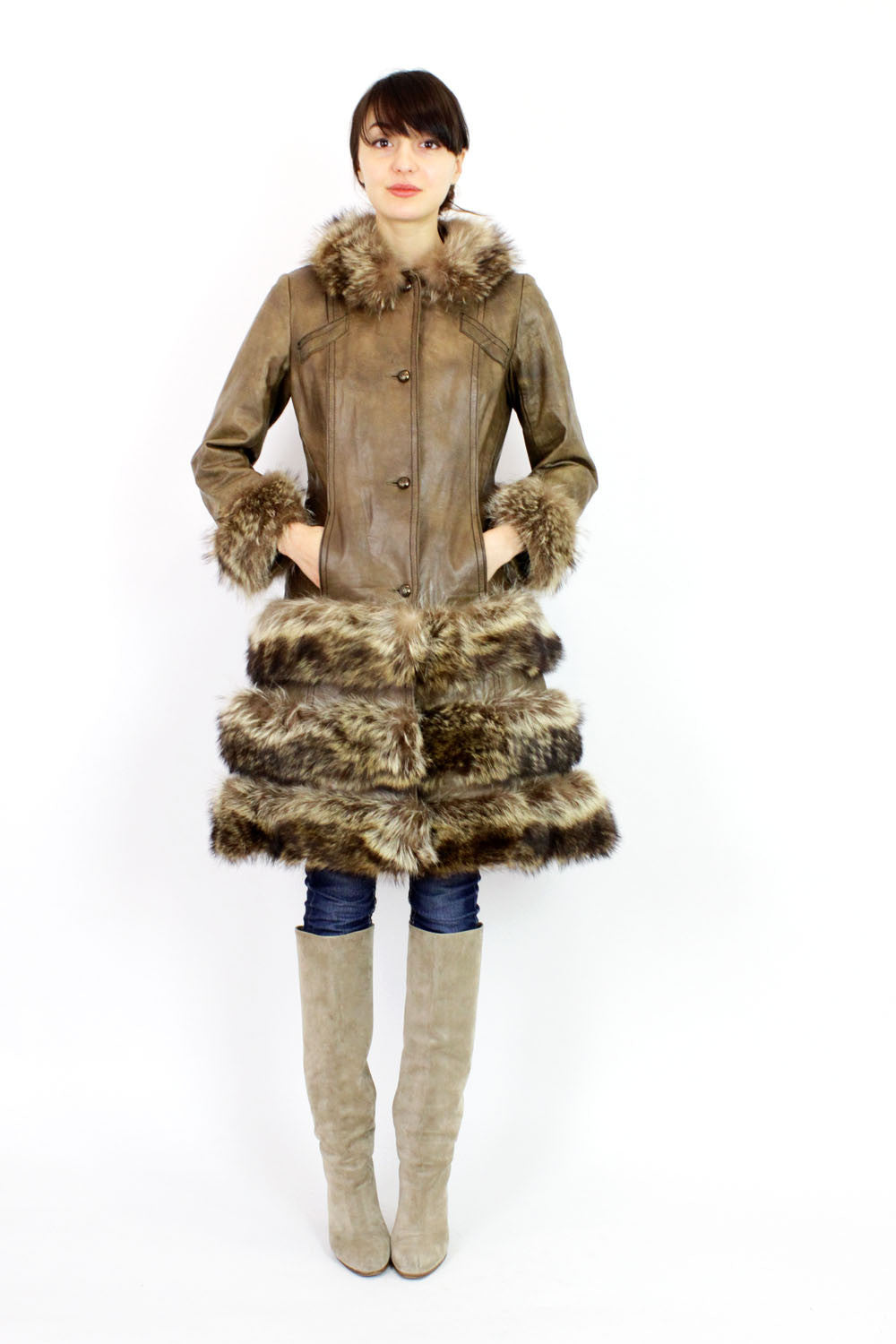 Highlander leather & fur coat S
