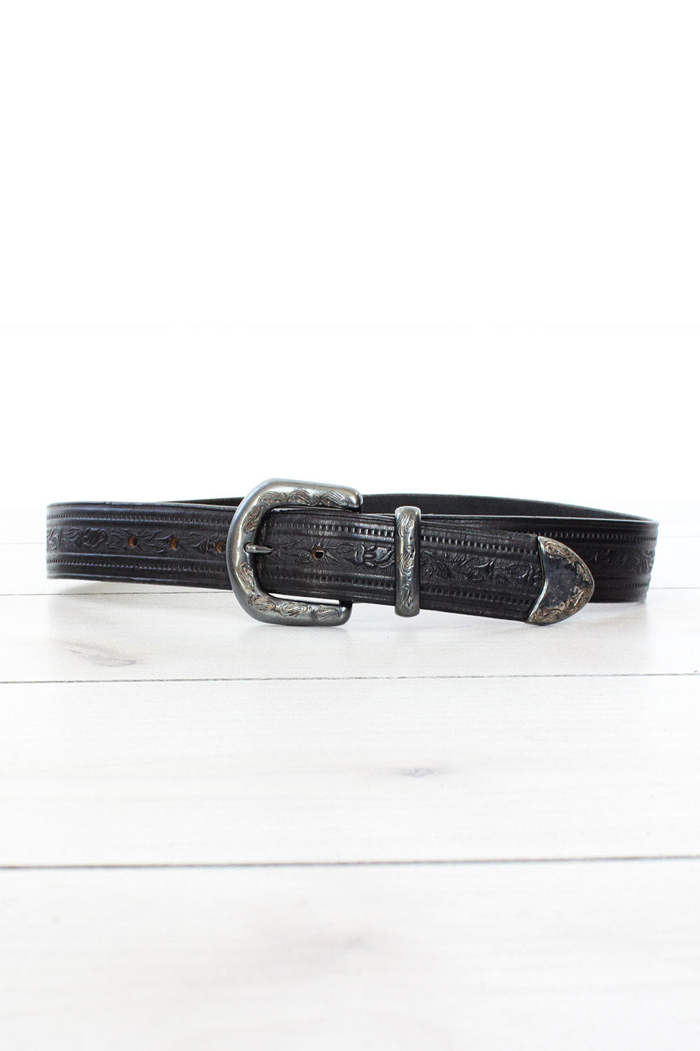 Black Tooled Leather Belt