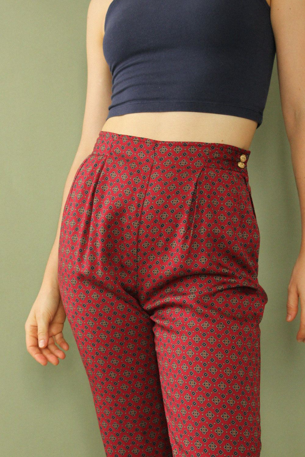 Brooks Tie Print Pleat Pant XS