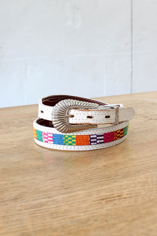 Wood Buckle Woven Ribbon Belt
