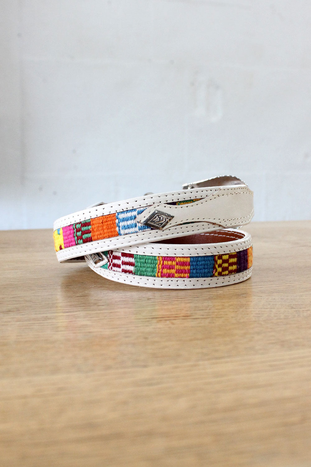 Southwest Rainbow White Leather Belt