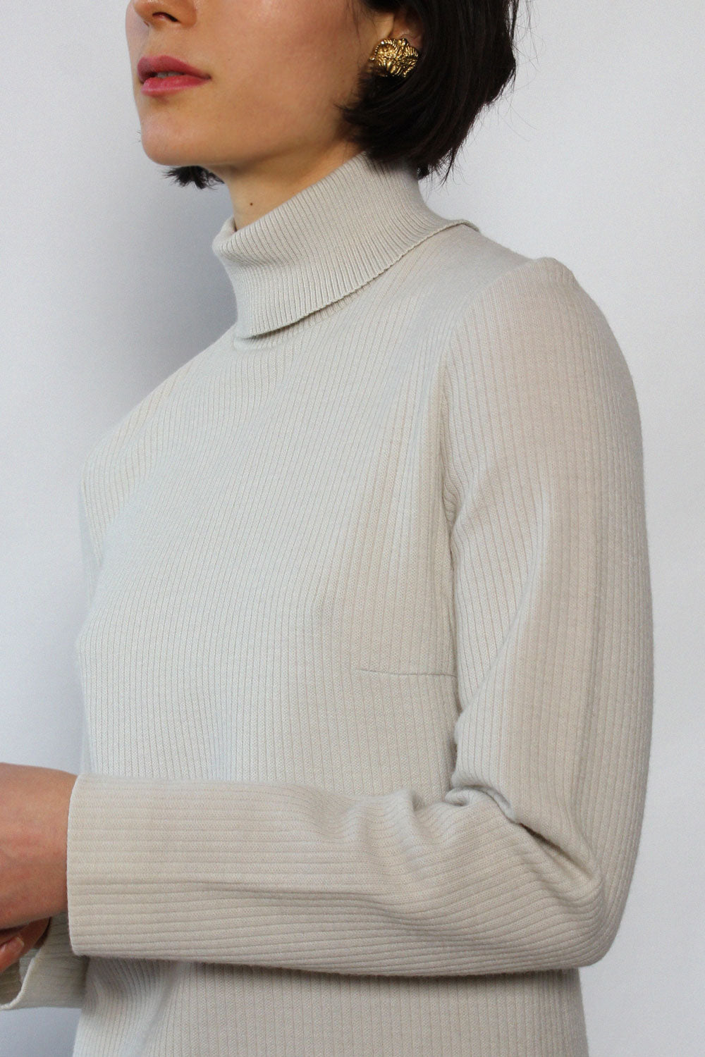 Ivory Ribbed Turtleneck Dress M