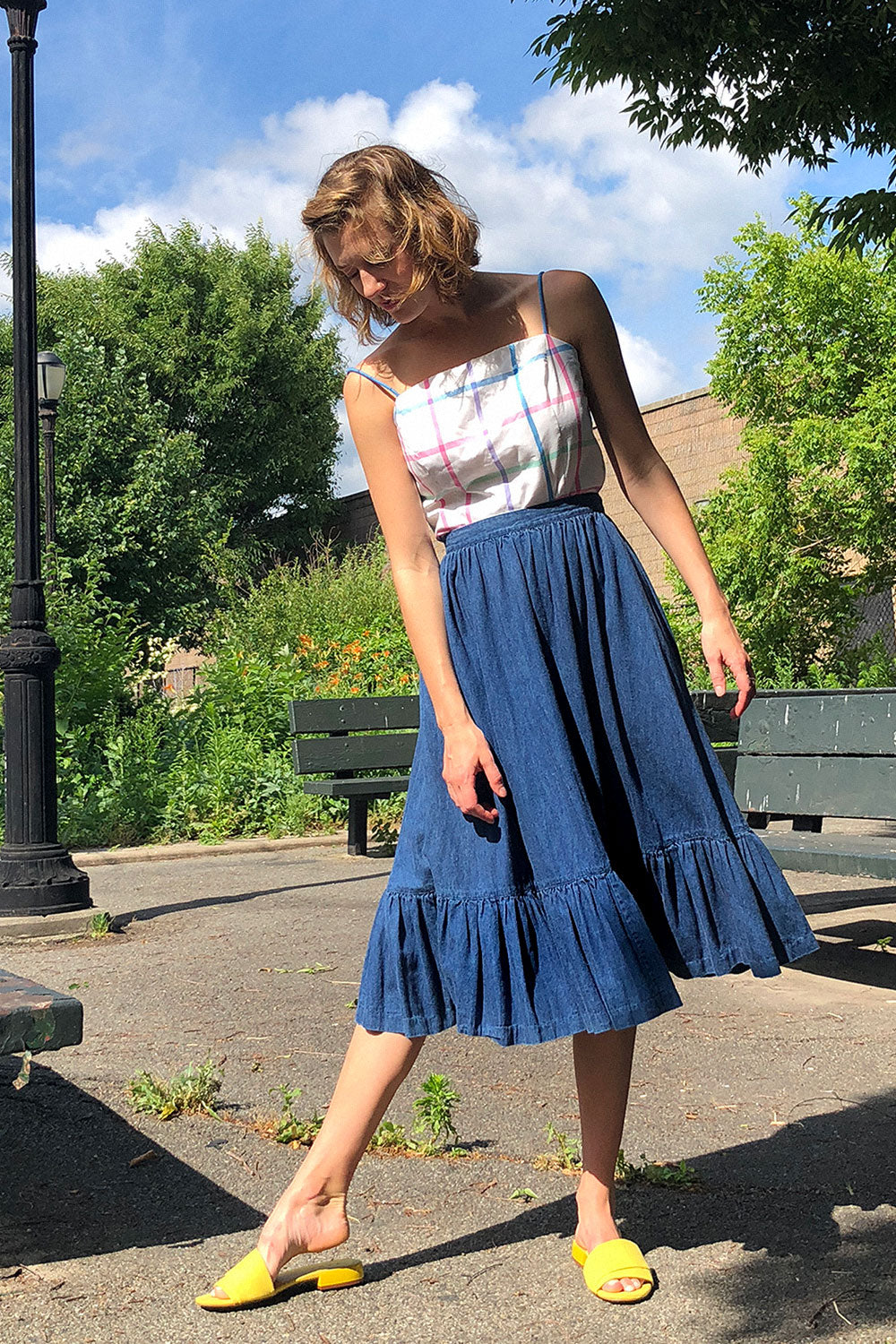 Denim Prairie Skirt M