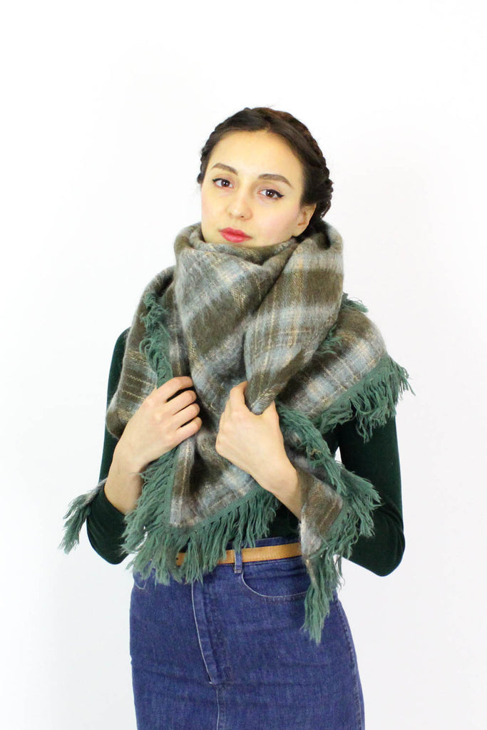 Scottish Plaid Mohair Shawl