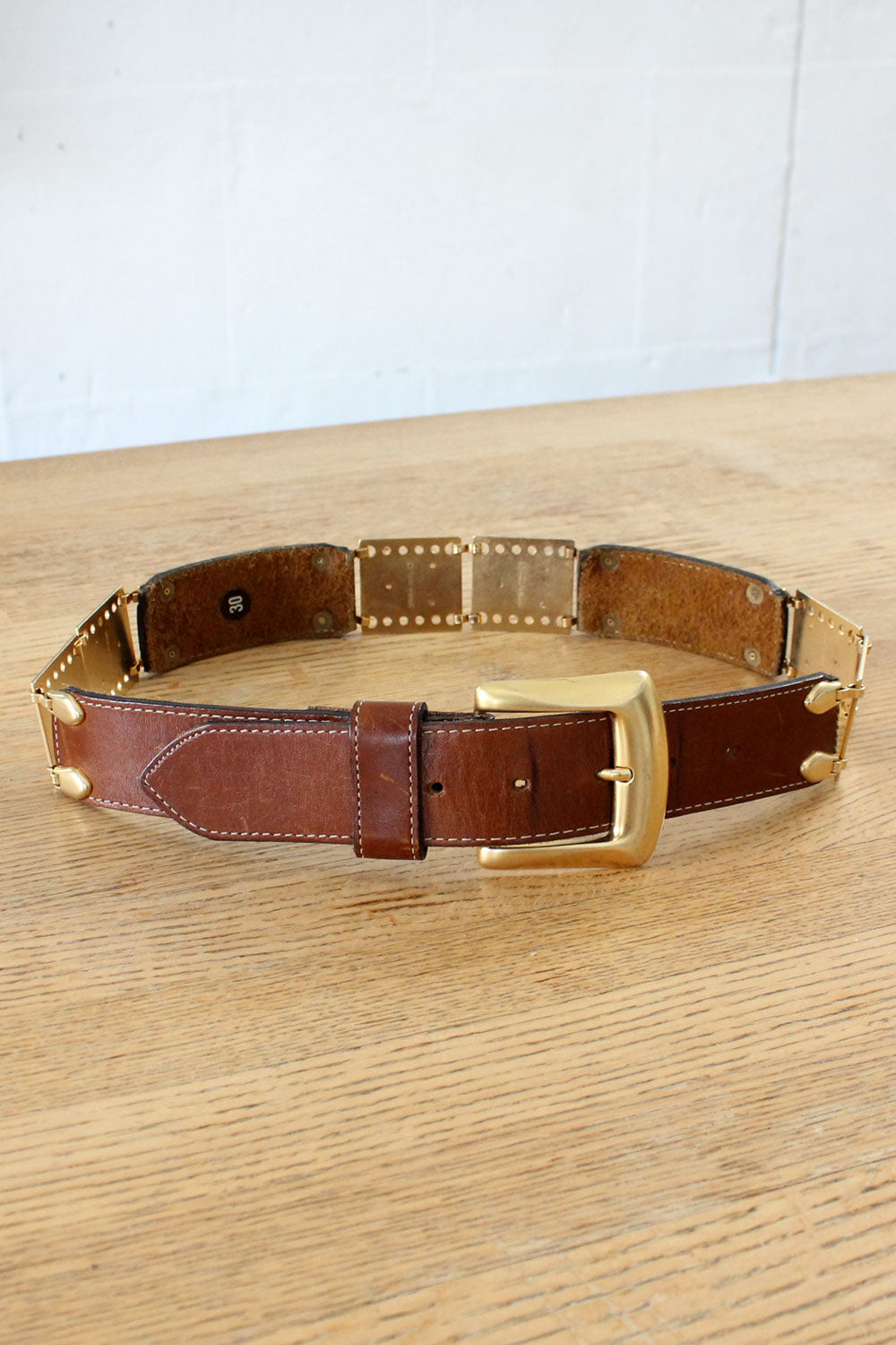Spanish Leather Brass Hinge Belt