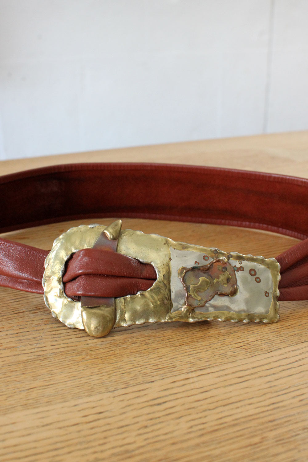 Brutalist Brick Leather Belt