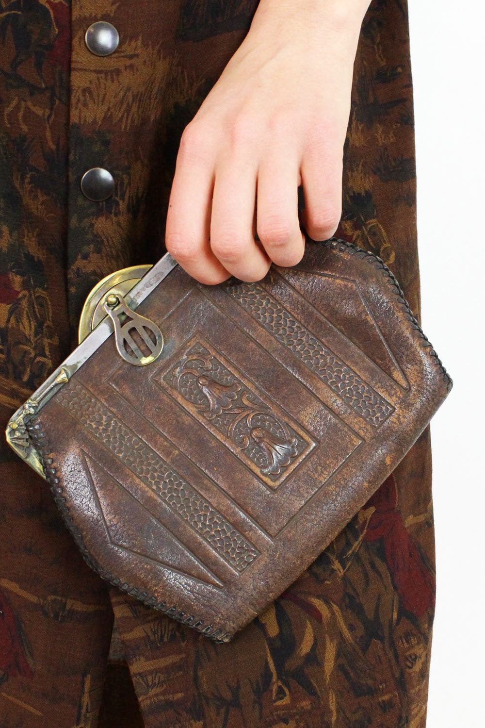 1920s Tooled Leather Clutch | As Is