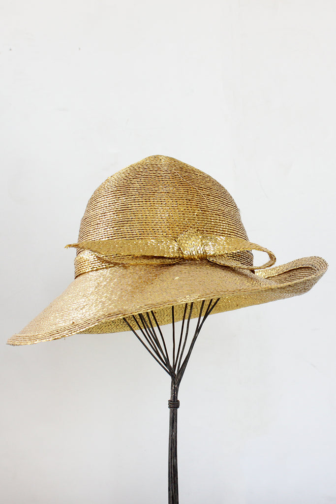 Frank Olive Metallic Wide Brim Hat