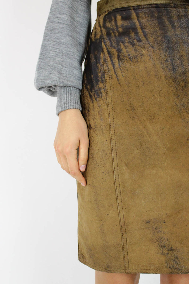 Distressed Leather High Waist Skirt S