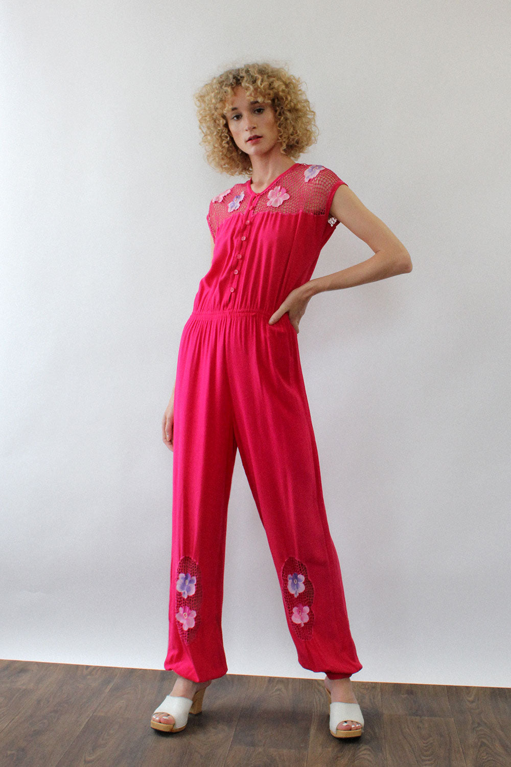 Hot Pink Bali Lace Jumpsuit M/L