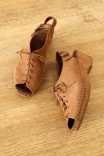 Lace-up Nubuck Wedges 8 1/2