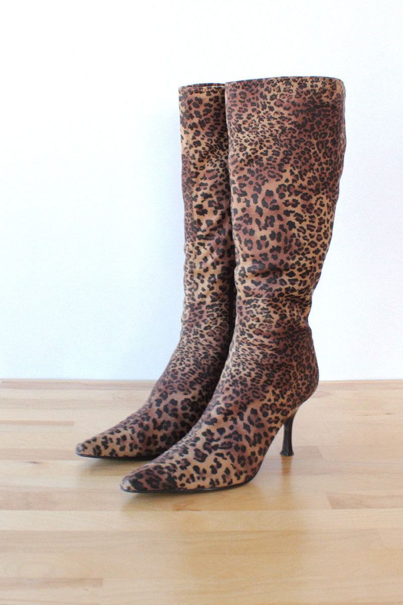 Leopard Pointy Toe Boots 7.5