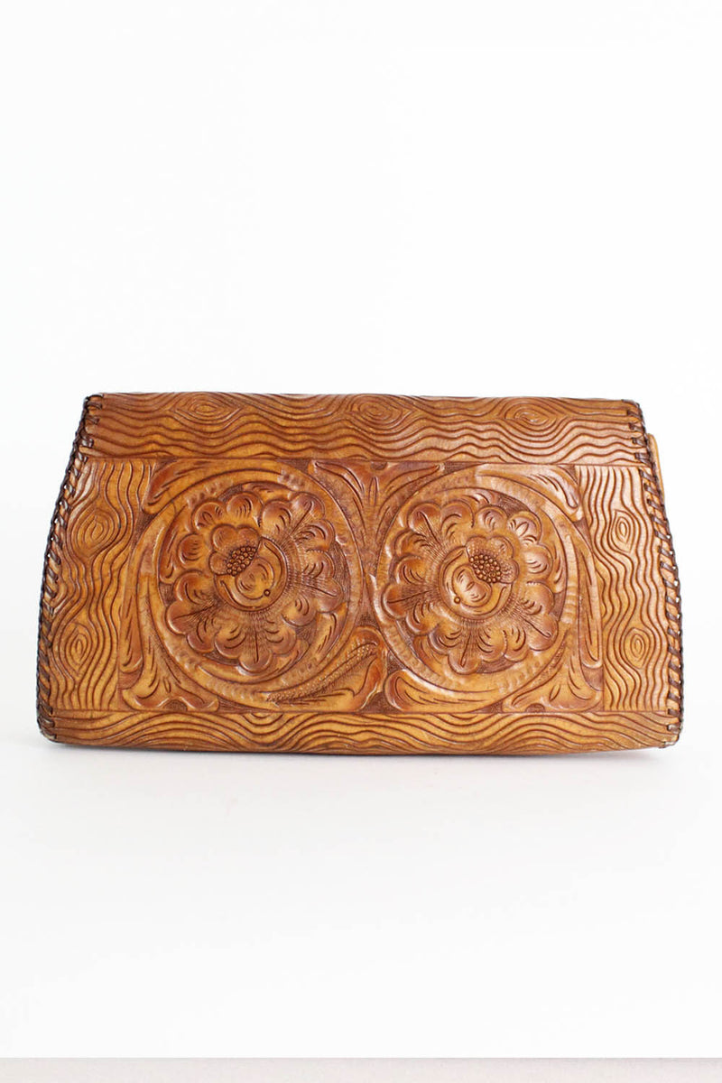 60s Tooled Leather Clutch