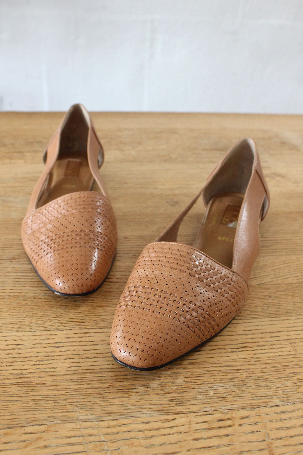 Pecan Leather Flats 10