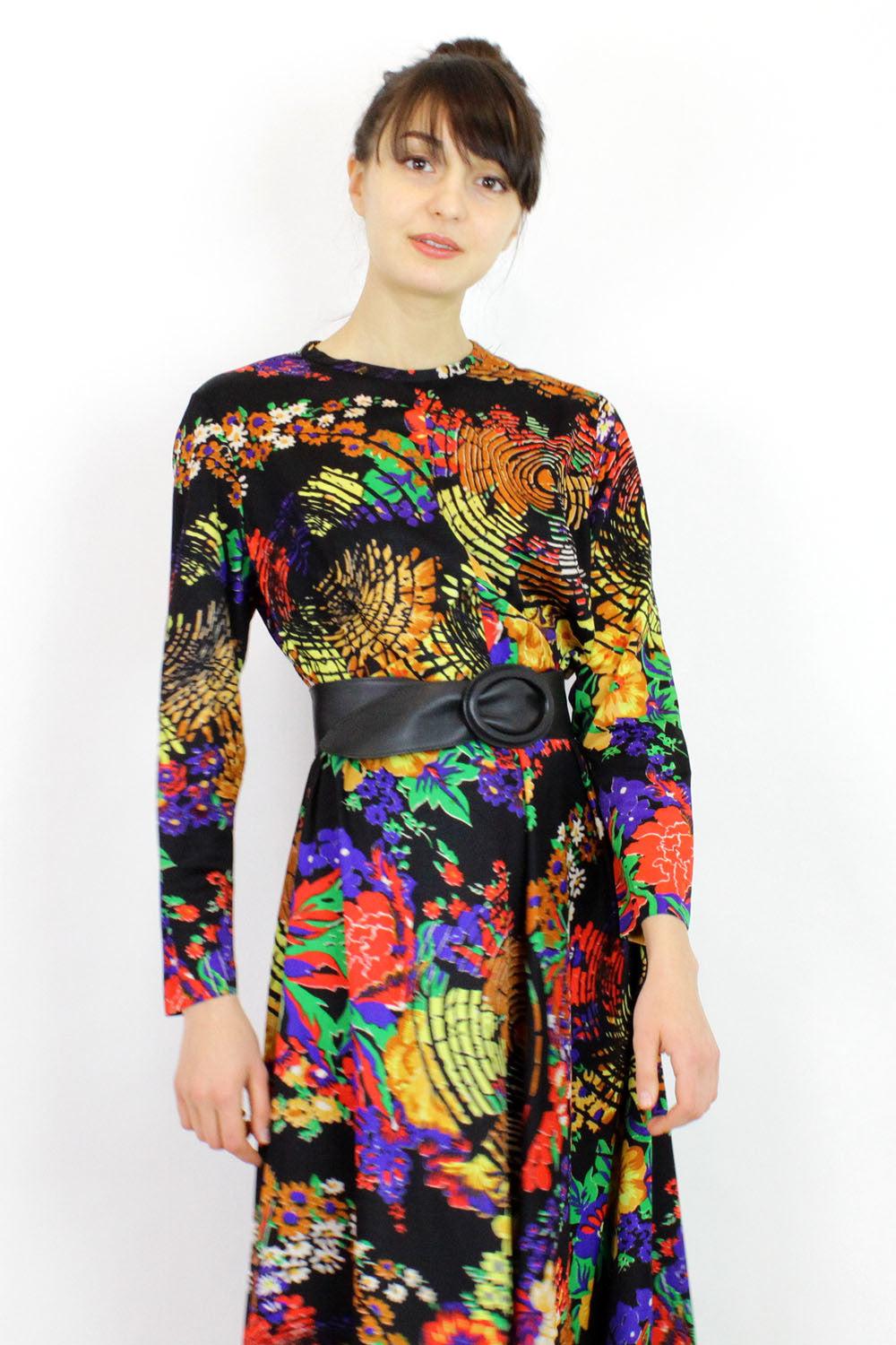 60s Psychedelic Maxi Dress M
