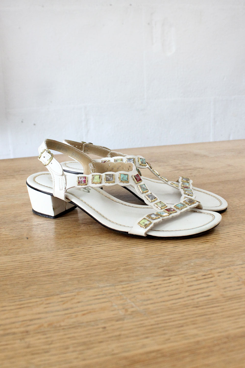 Bejeweled T-strap Sandals 6 1/2