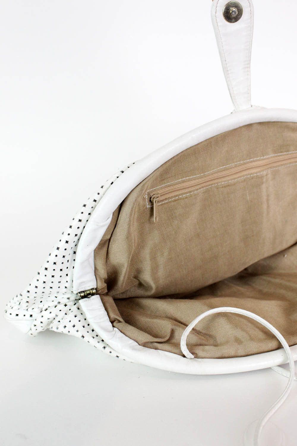 Oversized White Leather Clutch or Crossbody