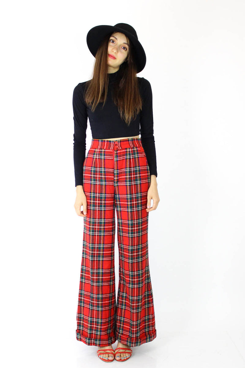 70s Plaid Bell Bottoms S