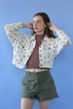 Ditsy Floral Cropped Denim Jacket S-L