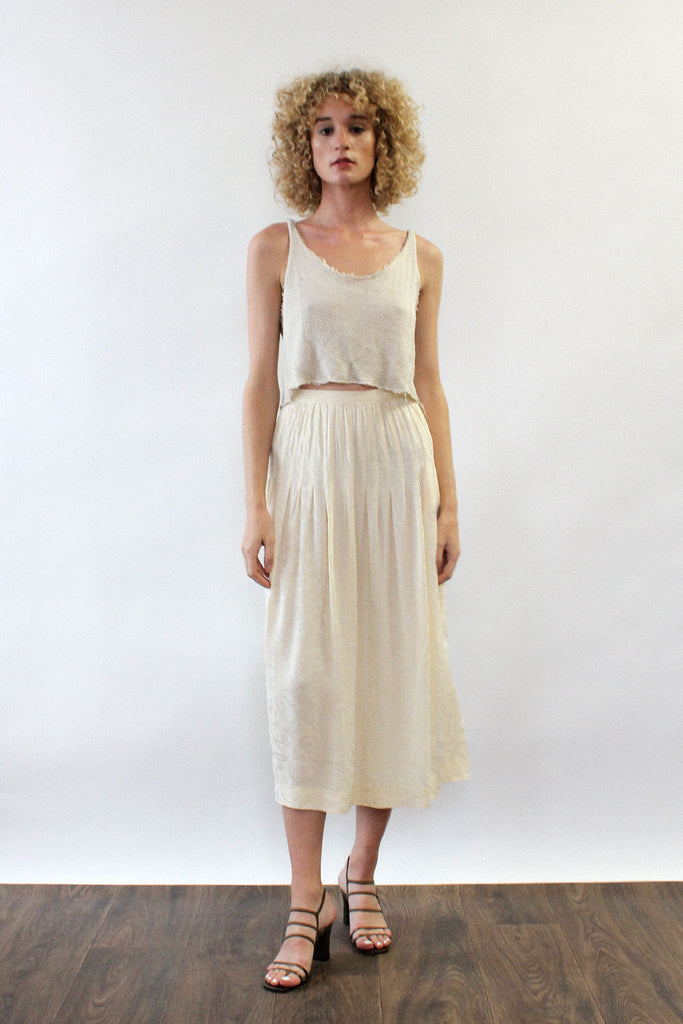 Ivory Jacquard Pleated Midi Skirt M