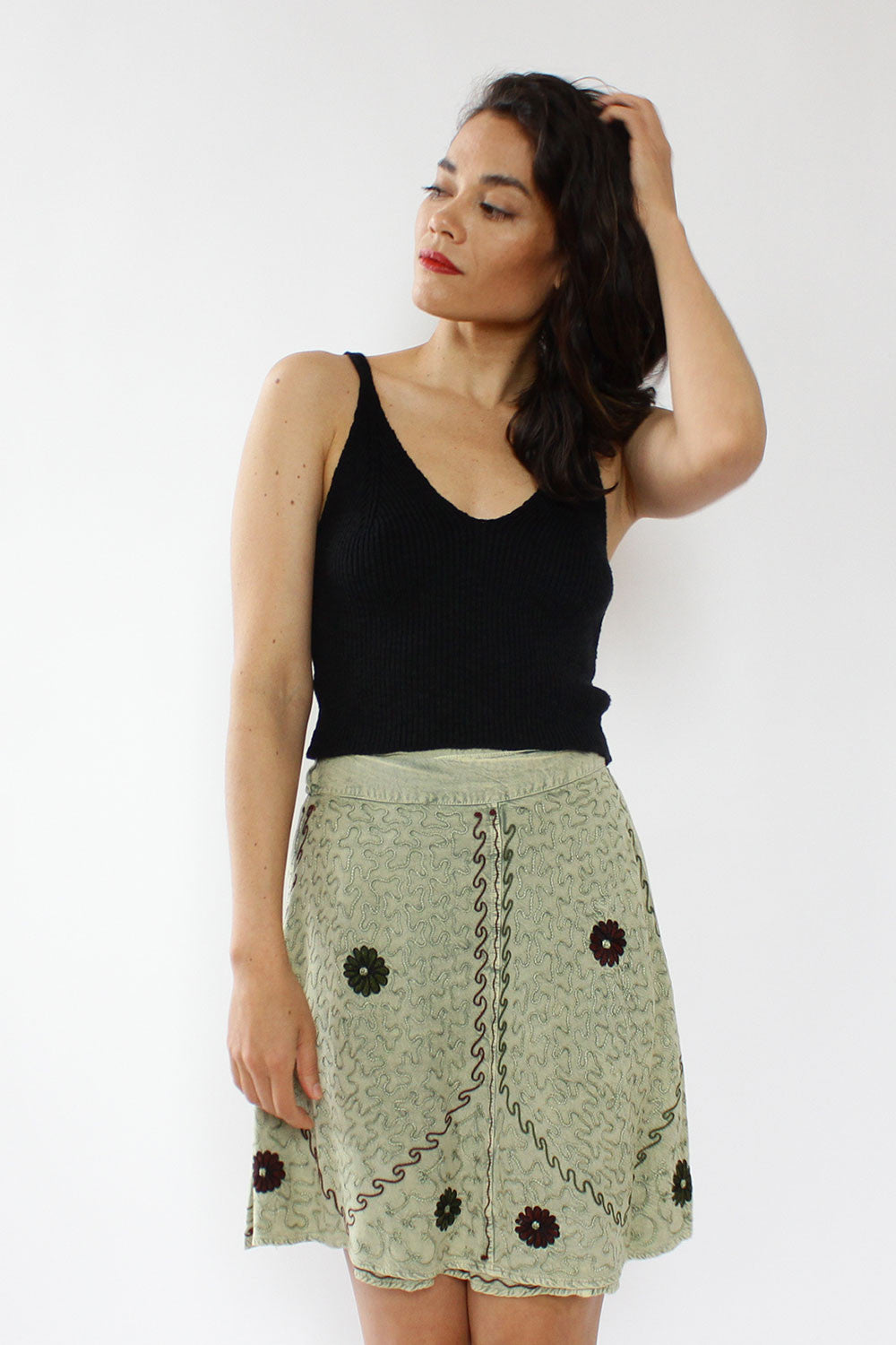 Sage Mini Wrap Skirt