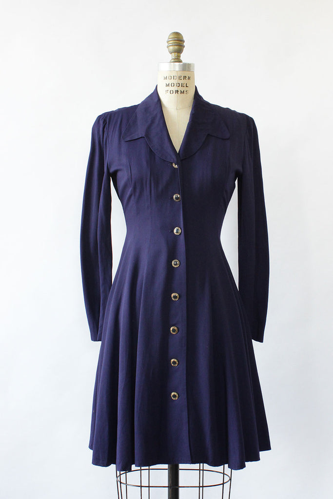 Navy Rayon Flare Dress XS