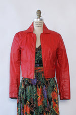 Crisp Apple Red Leather Jacket XS/S