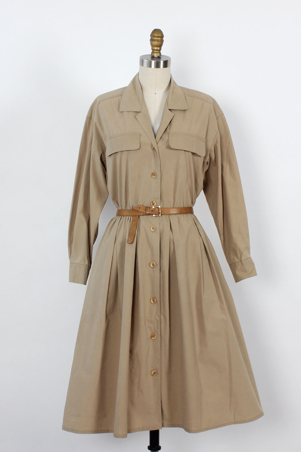Argenti Khaki Cotton Shirtdress S