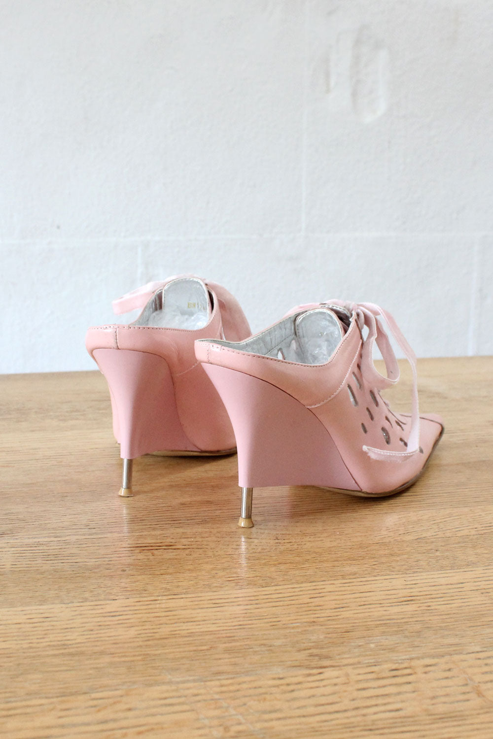 Candy Pink Leather Pointy Wedges 6