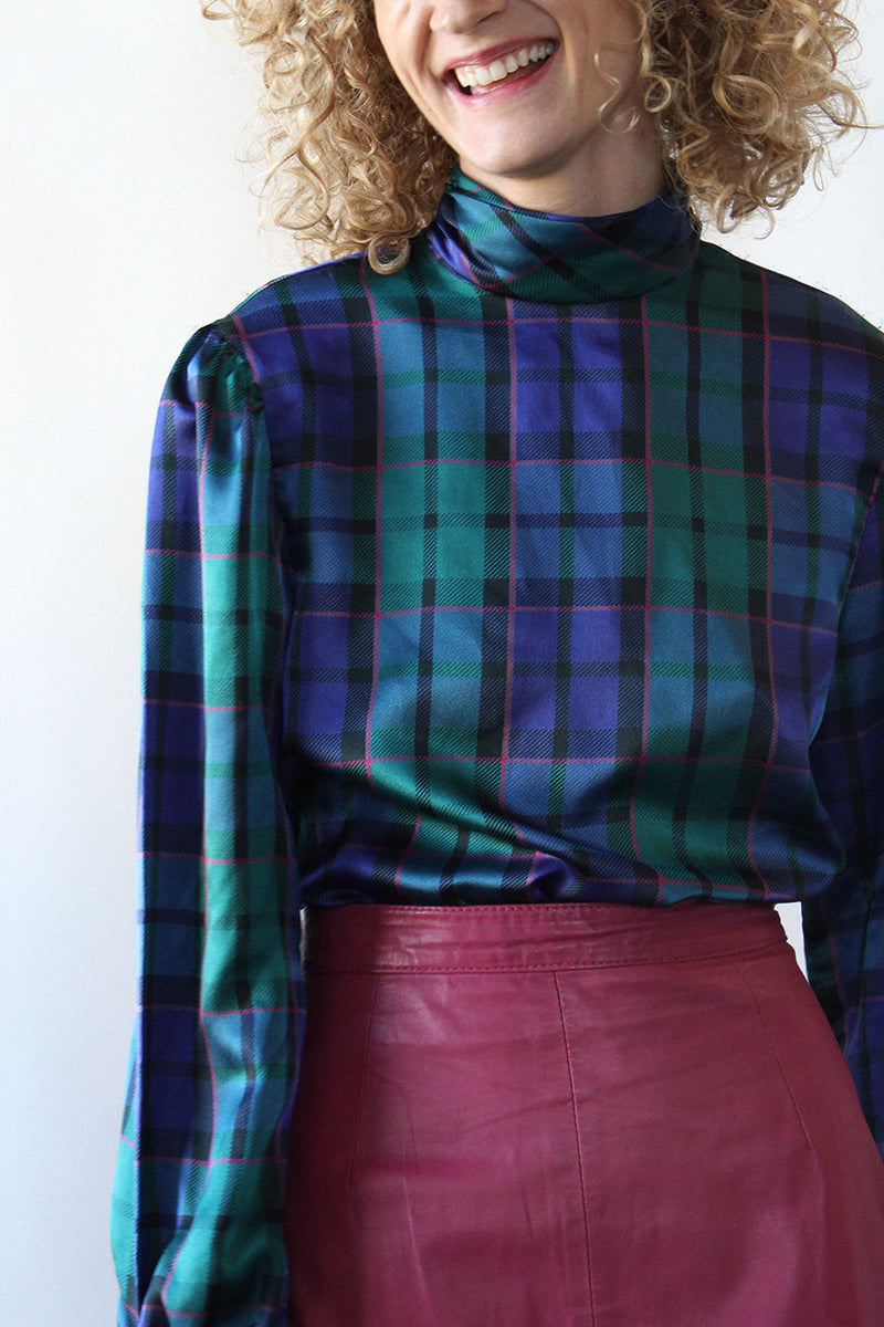 Jeweltone Plaid Satin Blouse S/M