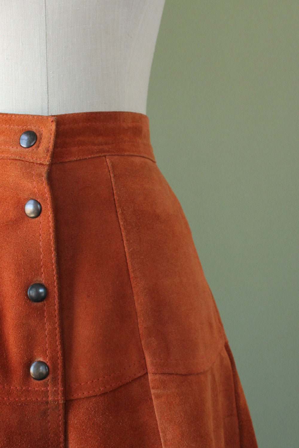 Burnt Apricot Suede Snap Skirt M