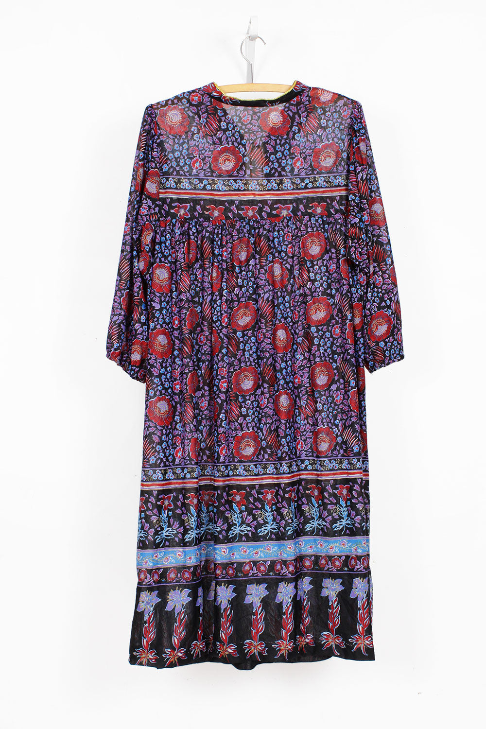 70s Indian Poppy Dress S/M/L