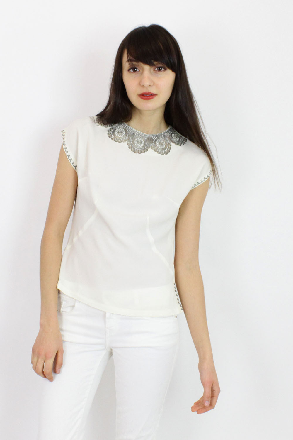 Metal Embroidered Shell Top S