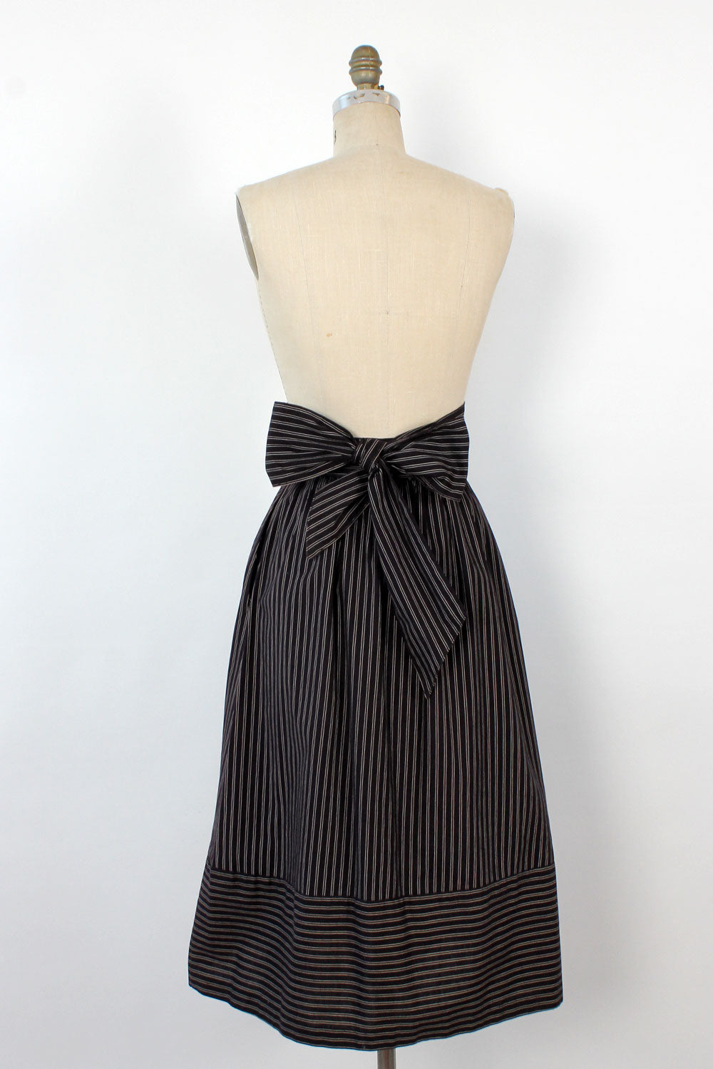 Pinstripe Cotton Sash Skirt S