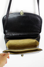 Black Leather Accordion Bag
